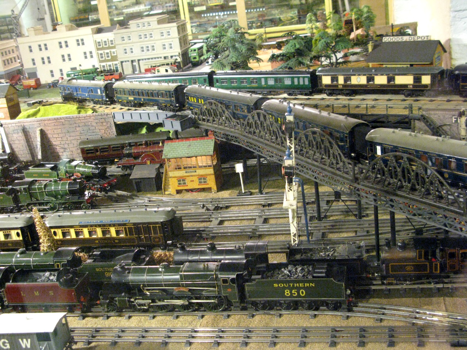 The Museum's large 1930's three-rail 0-gauge model railway