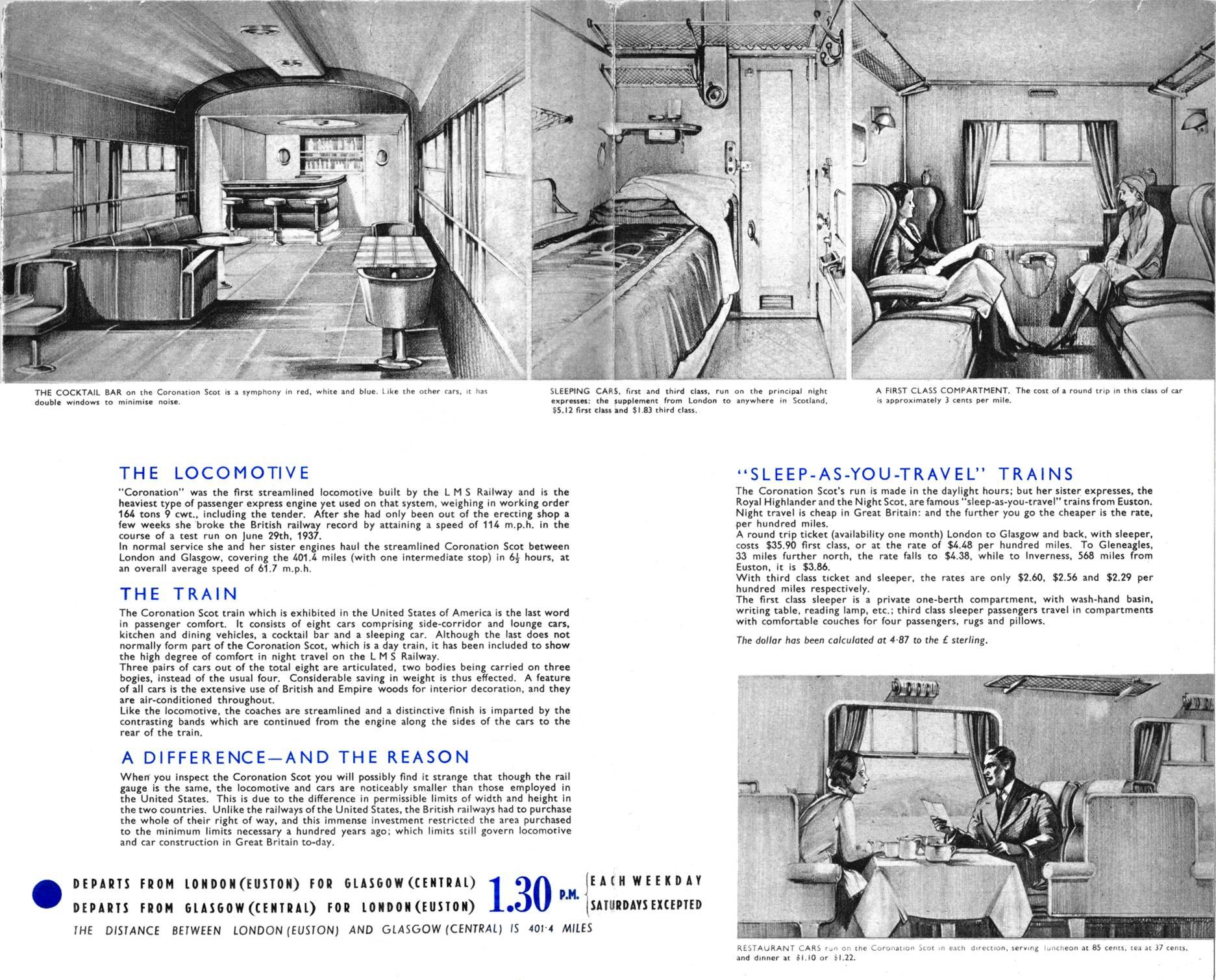 1939 Coronation Scot Us Tour Publicity Brochure Blue Lms