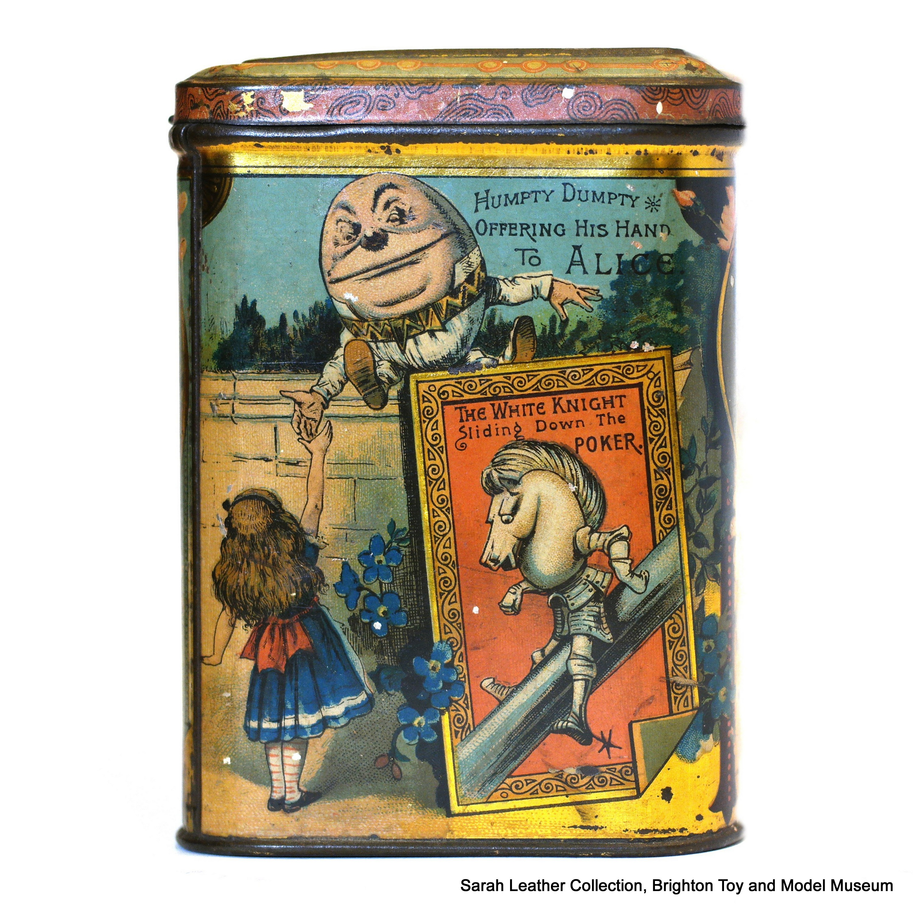 alice and humpty The rhyme was first printed in 1810 and became famous through lewis caroll's book, 'alice through the looking glass', where humpty dumpty is shown as a round egg however, it is a very old rhyme and goes back much earlier than this.