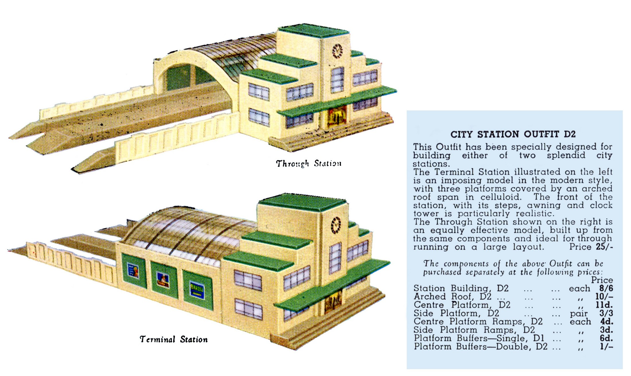 Kings Cross City Station Outfit D2 Wooden Hornby Dublo