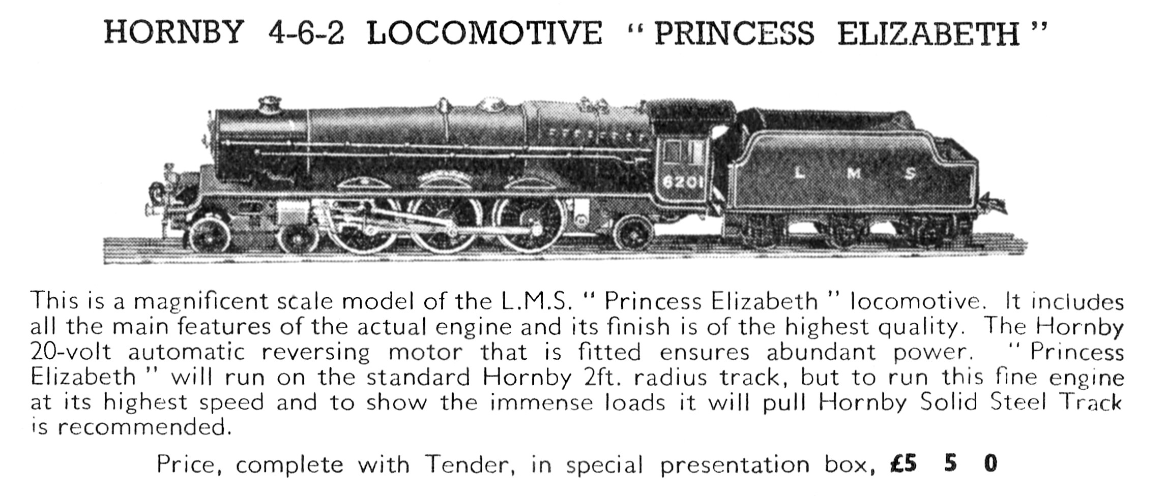 Princess Elizabeth Locomotive 6201  In Presentation Case