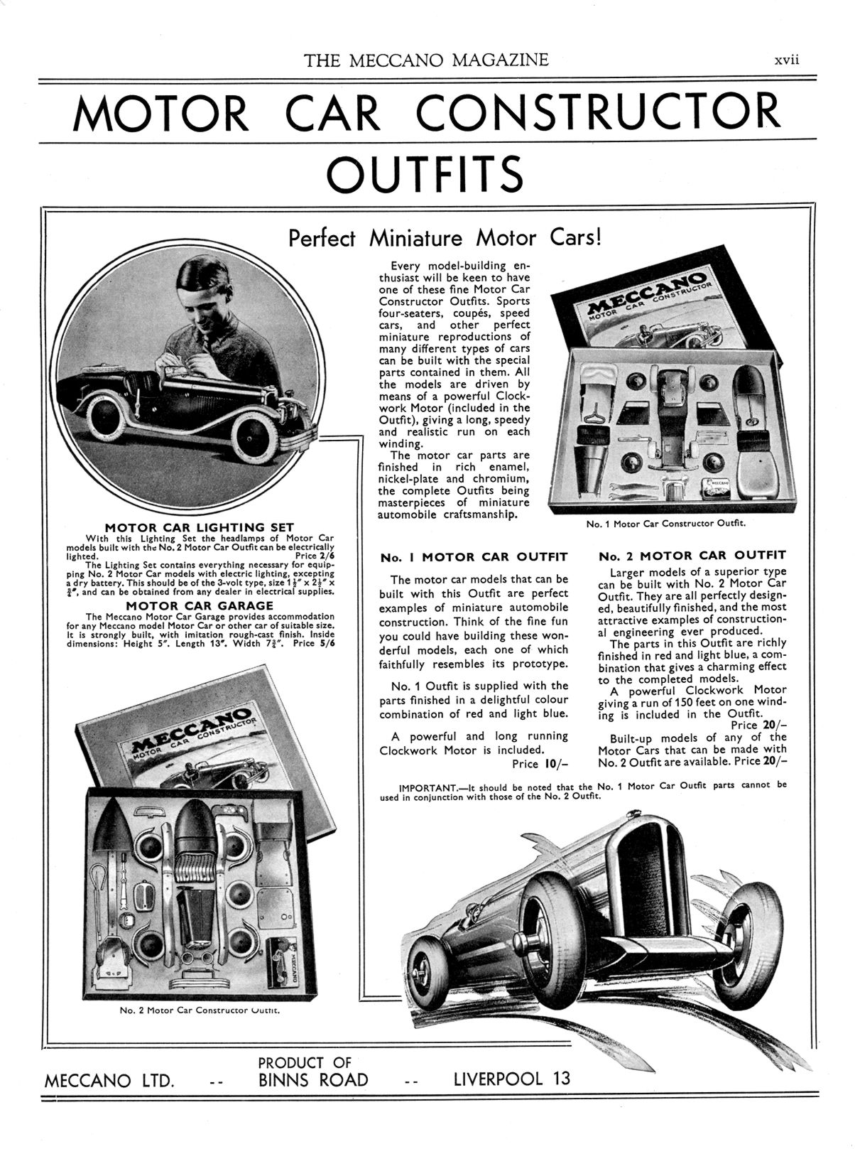 category meccano motor car constructor the brighton toy and 1936 full page advert
