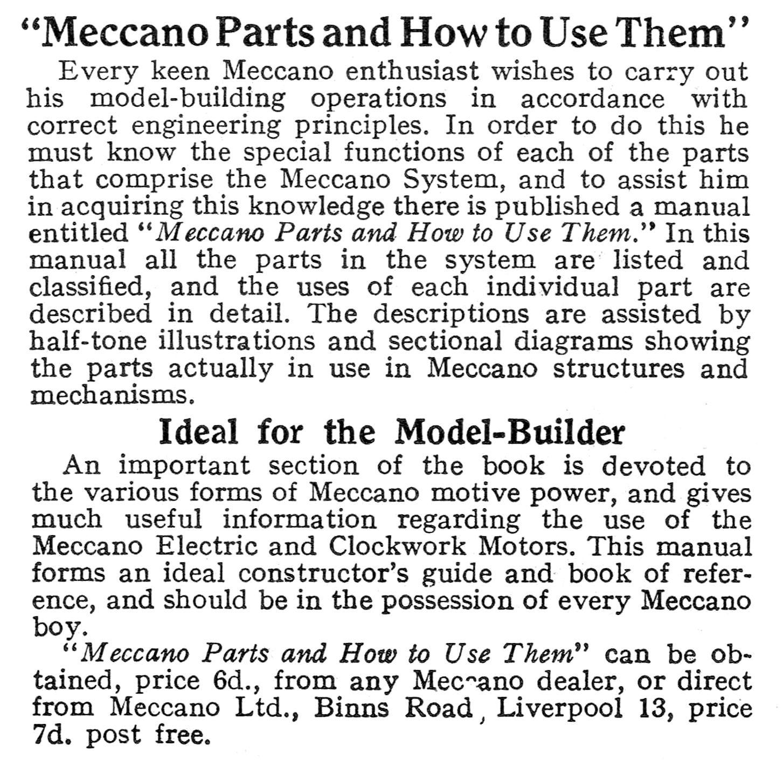 Meccano Parts And How To Use Them (Meccano Ltd)