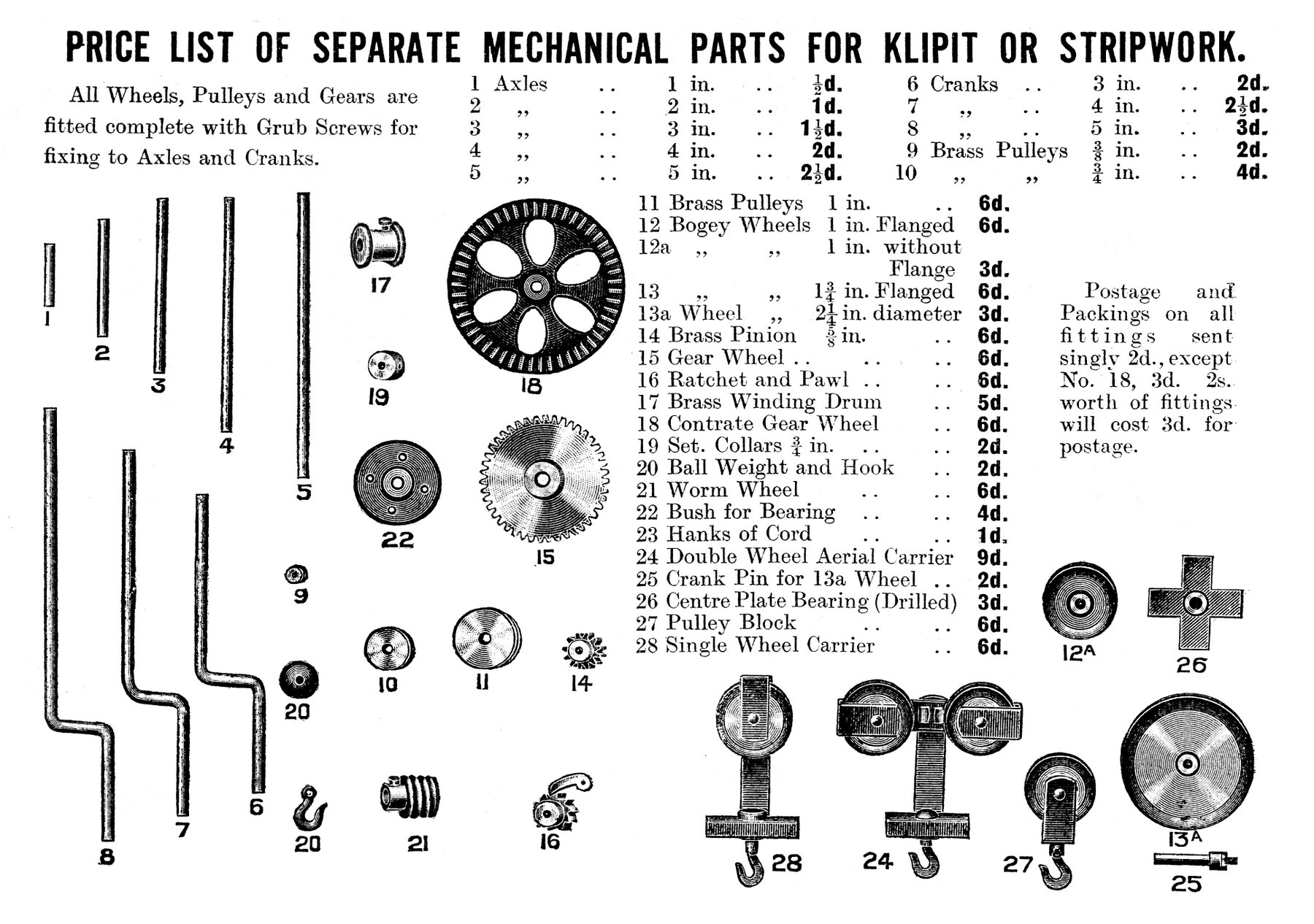 list of mechanical parts for klipit or stripwork the brighton 1916 mechanical parts for klipit or stripwork