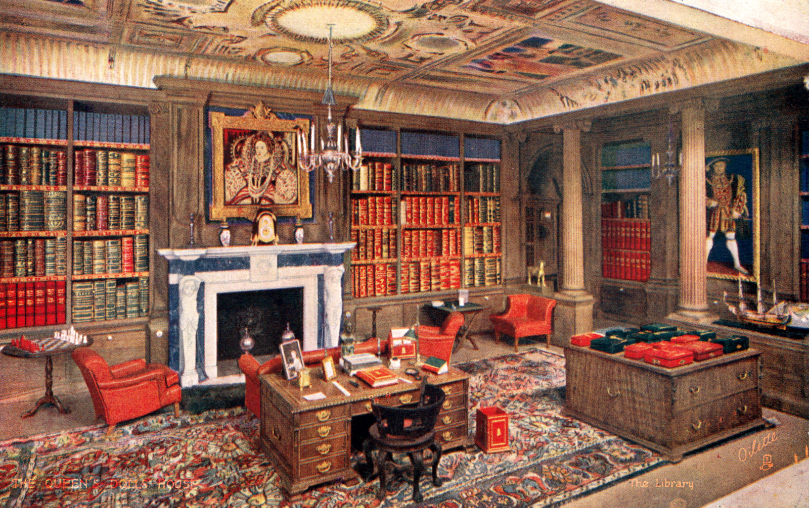 The Library The Queens Dolls House Postcards Raphael Tuck 4501 5