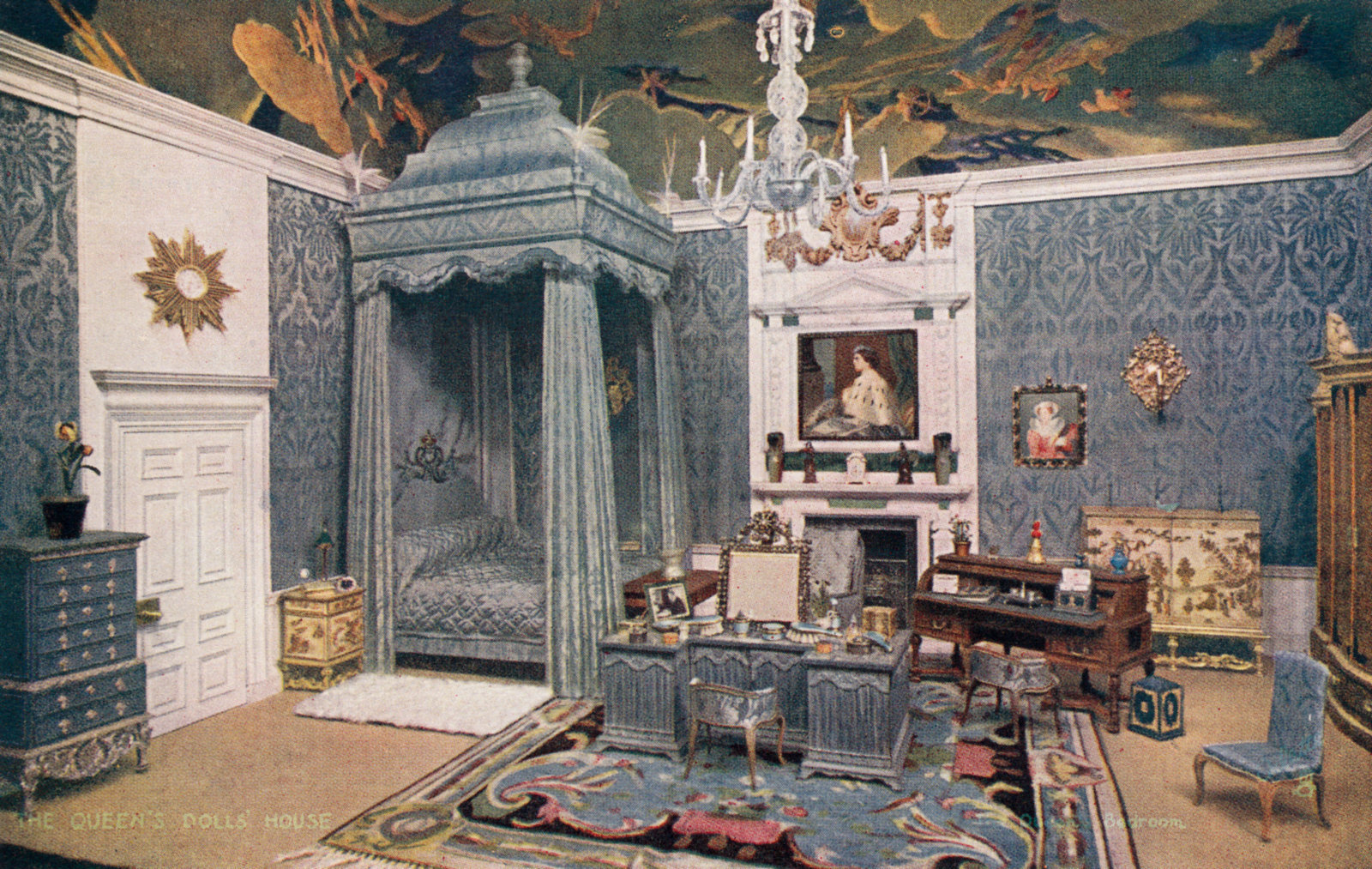 The Queens Bedroom The Queens Dolls House Postcards