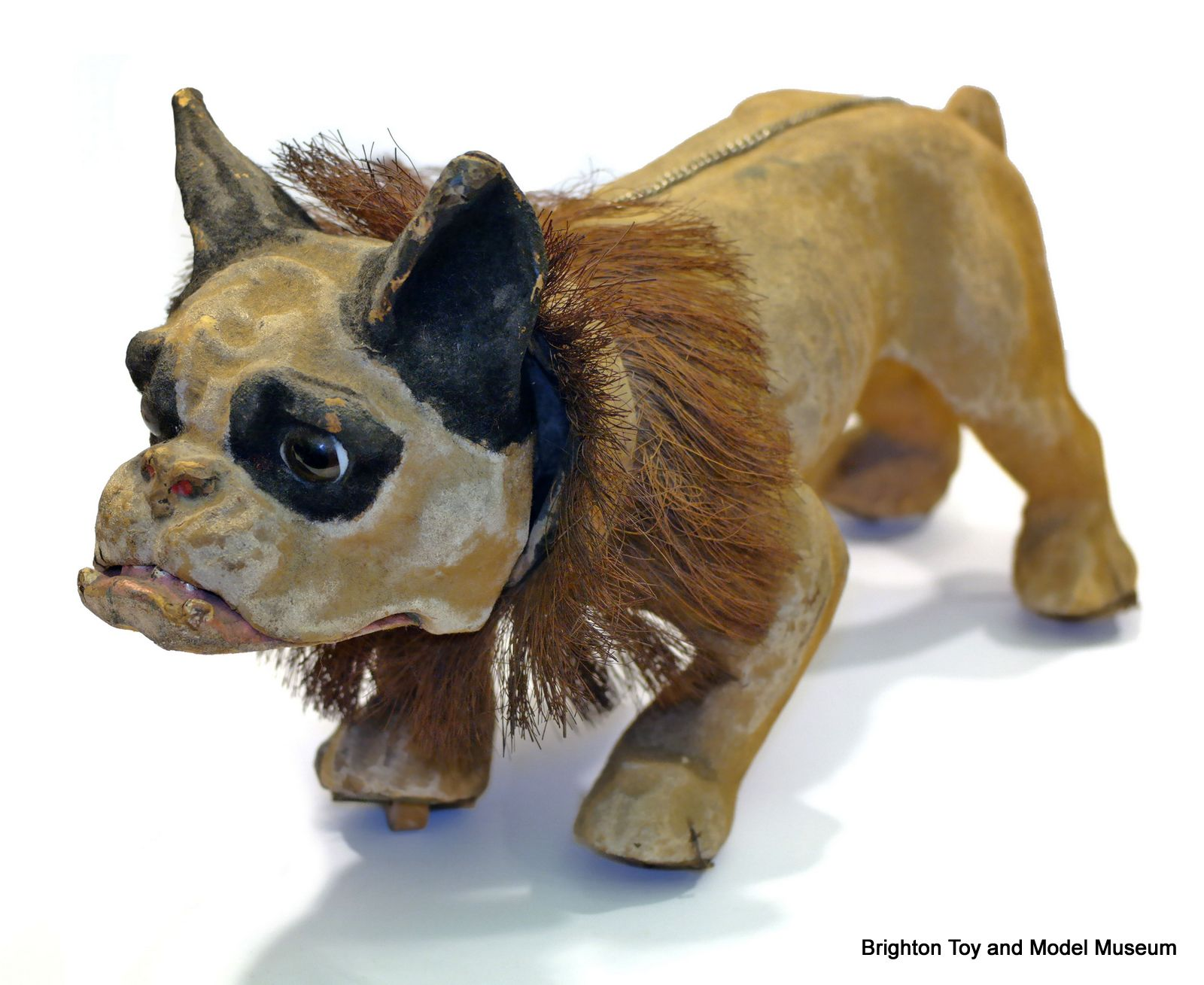 Growler papier mache French Bulldog pull toy France 1890s