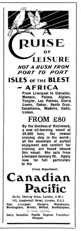 "1928: ""A cruise of leisure, not a rush from port to port"""