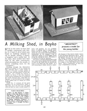 "1963 Meccano Magazine promotional article: ""A Milking Shed, in Bayko"""
