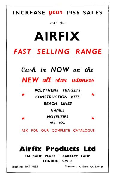 Airfix trade advert, 1956. Note the number of product ranges other than construction kits.