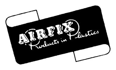 "1950s: The Airfix ""Products in Plastics"" logo in use in the 1950s, often in dark blue (see, e.g., the ""Cutty Sark"" kit packaging opposite). Airfix were at this point still pitching themselves as a more general-purpose plastic goods company."