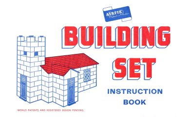 ~1957?: Cover of a very early red-and-blue-ink Instruction Book, listing only two accessory packs, and with no mention of a Set No.3 or a clip-together plastic roofing system. Given that these refinements appeared very quickly, we think this is probably the first version of the instruction book.