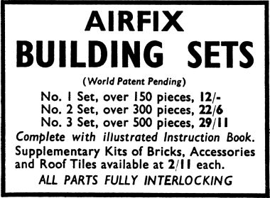 1959: Advert for sets 1-3 and accessories