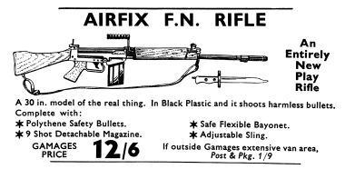 "1961: 30-inch toy firing FN Rifle. An example of a ""non-kit"" Airfix product"