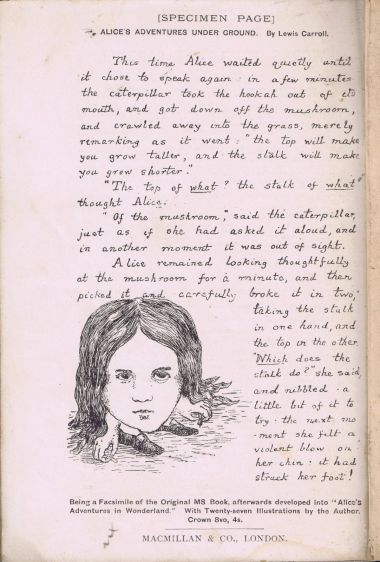 "A replica page from ""Alice's Adventures Under Ground"", Carroll's original manuscript (being advertised as a special edition in 1894)."