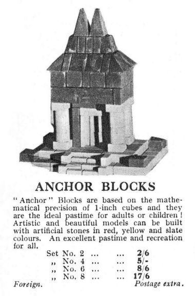 1932 Gamages catalogue entry for Anchor Blocks