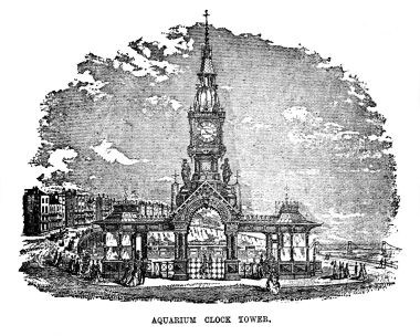 1885 -published engraving of the Aquarium Clock Tower, Nash's Guide to Brighton
