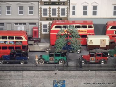 Some of the Minic vehicles on the Museum's vintage 1930s model railway layout