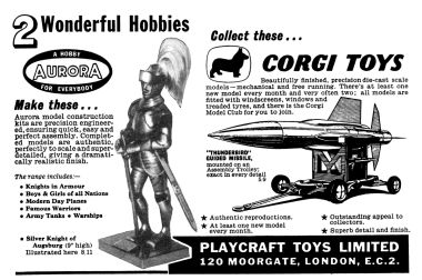 "1959: ""Two Wonderful Hobbies"", Aurora Kits and Corgi Toys, advert for Playcraft Toys Limited in Hobbies Annual"