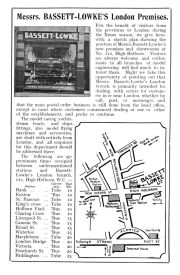 Advert with map and travelling instructions for number 112 High Holborn