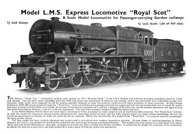 "1937: Bassett-Lowke Garden Railways ""Royal Scot"" 6100"