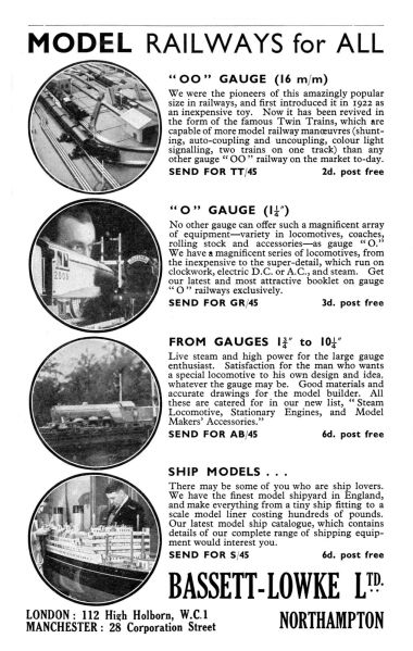 "1939: ""Model Railways for All"" Bassett-Lowke advert, late 1939. This variant on their usual three-circles"" now finally includes a fourth circle for Trix 00-gauge trains, now presented as a major B-L product range"