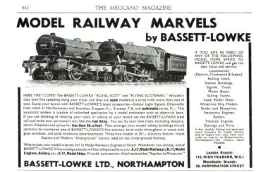 "Bassett-Lowke advert showing ""Royal Scot"" and ""Flying Scotsman"" models"