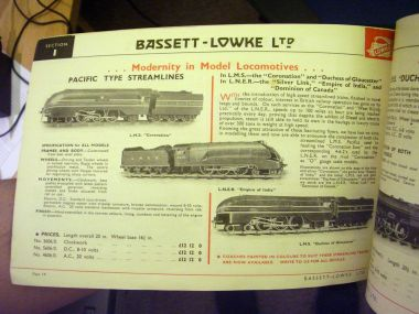 "Bassett-Lowke gauge 0 catalogue (""Modernity in Modern Locomotives""). ""Duchess of Gloucester"" is lower right. Note that all three B-L locomotives pictured on this page are on display in the Museum"