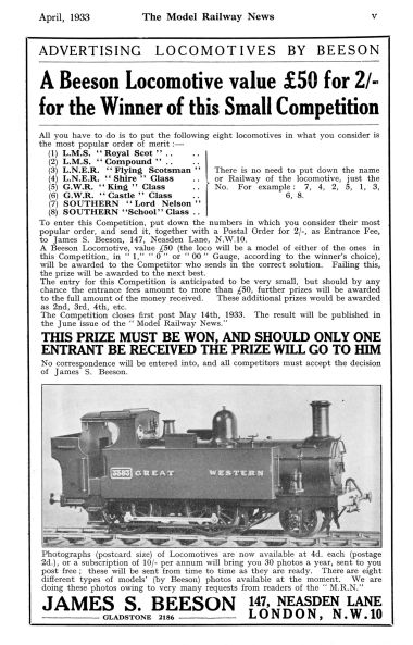 "1933: ""Locomotives by Beeson"" prize competition, The Model Railway News"