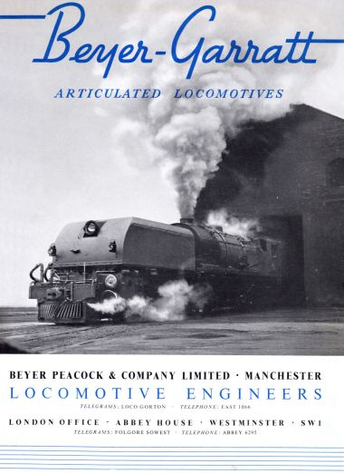 "1947: Cover of the ""Beyer-Garratt Articulated Locomotives"" catalogue"