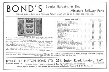 Bonds of Euston Road, sale of Bing Table Railway equipment in November 1935. This was presumably a clearance of old stock, rendered obsolete by the launch of Trix Express in spring 1935