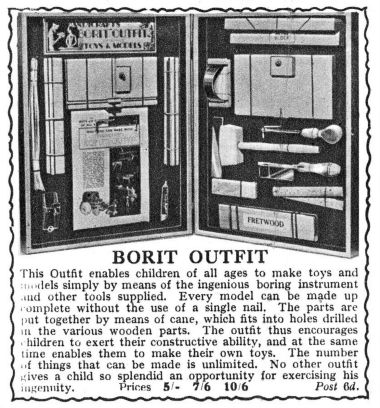 1932: Borit wooden construction outfits, Gamages catalogue