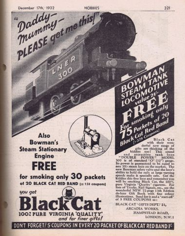 1932: Bowman model 300 locomotive and stationary steam engine, Black Cat cigarette coupon promotion