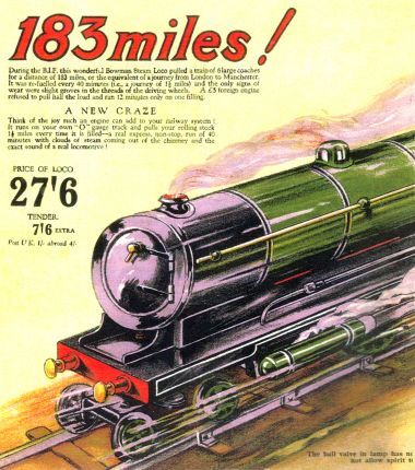 ">1928: ""183 Miles!!"" Artwork from Bowman Models commemorating the performance of a steam-powered model locomotive at the 1928 British Indisustries Fair"