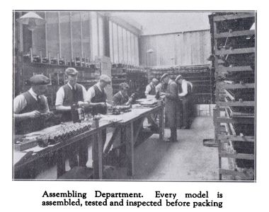 "~1931: ""Assembly Department. Every model is assembled, tested and inspected before packing"""