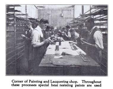 "~1931: ""Corner of Painting and Lacquering Shop. Throughout these processes special heat resisting paints are used."""