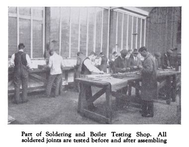 "~1931: ""Part of Soldering and Boiler Testing Shop. All soldered joints are tested before and after assembling"""
