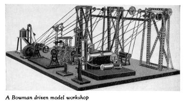 "1931 publicity photo, a Bowman steam-powered model workshop incorporating a Bowman engine and ""working models"" with shafting supported by additional Meccano parts."