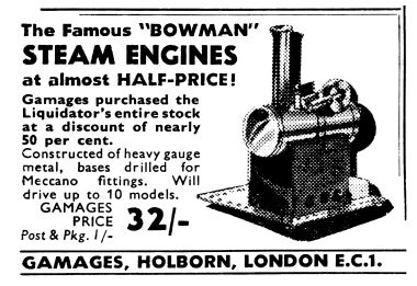 1950: Gamages advert clearing liquidated Bowman stock