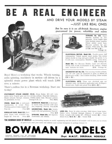 1934: Be a Real Engineer, Bowman Models