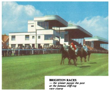 "1935: ""Brighton Races – the winner passes the post at the famous cliff-top race course"""
