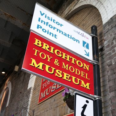 "Brighton Toy and Model Museum's external ""Visitor Information Point"" signage"