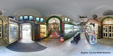 Museum lobby, 360-degree panoramic view. The main museum area is up the set of steps in the centre. Standard wheelchairs can be accommodated via a second entrance