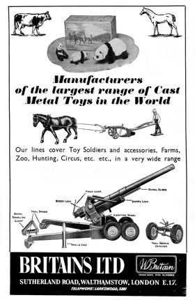 1956: Britains Ltd. trade advert mentioning the zoo, circus and farm ranges