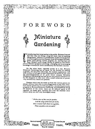 "Foreword to ""Britain's Miniature Gardening"", catalogue page"
