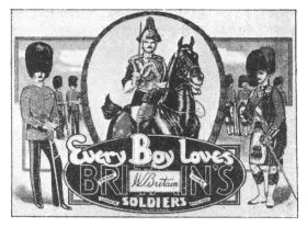 "~1940: ""Every boy loves Britains Toy Soldiers"", point-of-sale advertising"