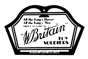 """All the King's Horses and all the King's Men aren't as good as W. Britain's Toy Soldiers"", point-of-sale advertising circa 1940. There were six different cards in this series, including cards for Britains Farm, Zoo, etc."
