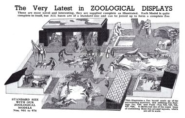 """The very latest in ZOOLOGICAL DISPLAYS"", page from the 1940 catalogue, showing a number of Britains Zoo enclosures assembled to form a zoo display"