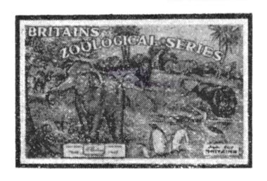 Retailer's promotional card for Britains Zoological Series (Britain's Zoo)