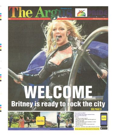 2018: The Britney concert announced on the front cover of the Argus, 4th August